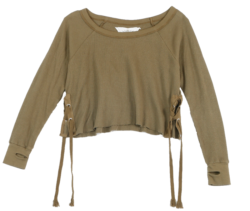 MED. OLIVE LONG SLEEVE THERMAL MODAL LYCRA CREW SIDE TIE WITH THUMBHOLE