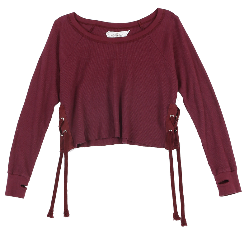 DK. BURGUNDY LONG SLEEVE THERMAL MODAL LYCRA CREW SIDE TIE WITH THUMBHOLE