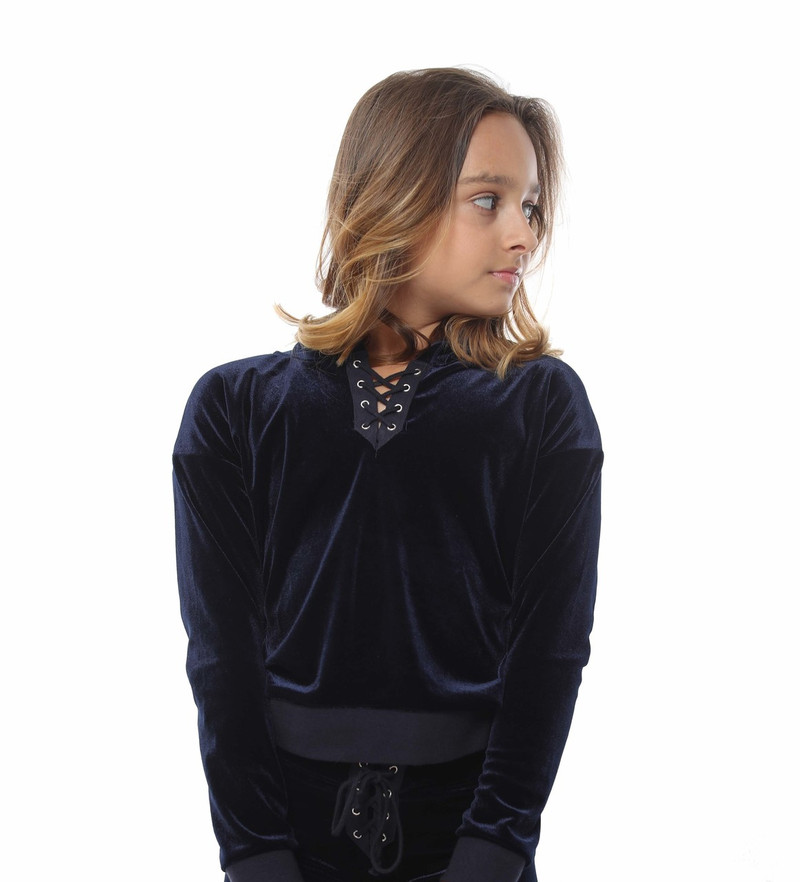 DK NAVY POLY VELVET LONG SLEEVE LACE FRONT HOODED PULLOVER