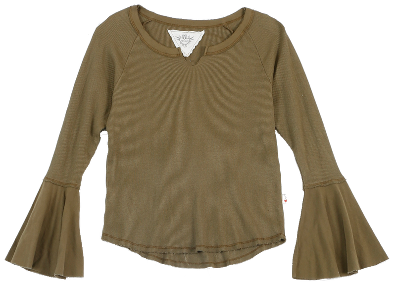 MD OLIVE LONG SLEEVE THERMAL MODAL LYCRA BELL SLEEVE TOP WITH CUT NECK