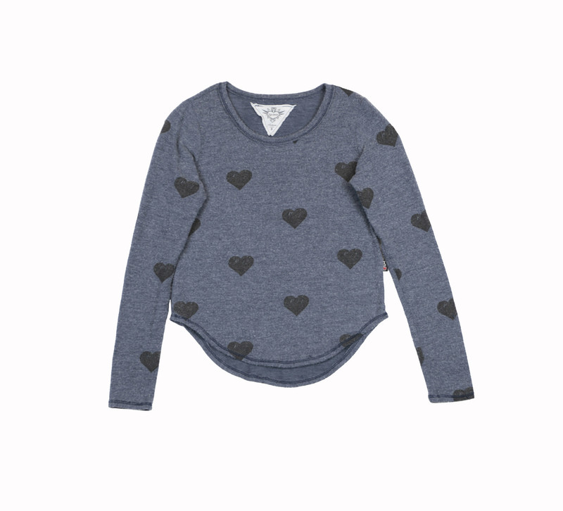MIDNIGHT LONG SLEEVE HEATHER BRUSHED HACCI SWEATER KNIT CREW TOP WITH BLACK HEART PRINT