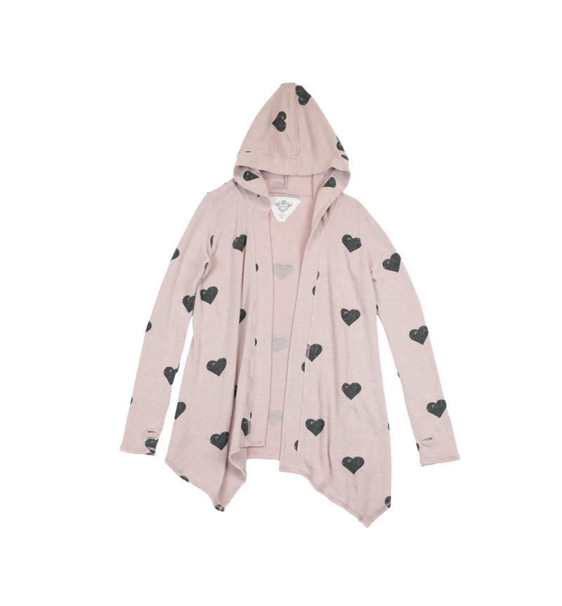 WINTER ROSE LONG SLEEVE HOODED BLACK HEART PRINT BLUSH HACCI TUNIC WRAP WITH THUMBHOLES