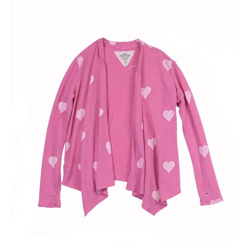 HOT PINK LONG SLEEVE HACCI WHITE HEART PRINT WRAP WITH THUMBHOLES