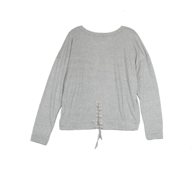 GREY HEATHER LONG SLEEVE LACE BACK CREW TOP - BACKVIEW