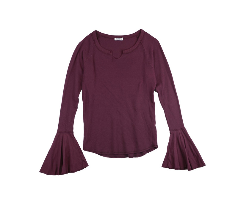 DK BURGUNDY LONG SLEEVE THERMAL MODAL LYCRA BELL SLEEVE TOP WITH CUT NECK