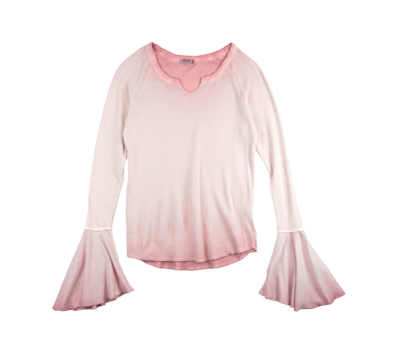 MAUVE VINTAGE WASHED LONG SLEEVE THERMAL MODAL LYCRA BELL SLEEVE TOP WITH CUT NECK