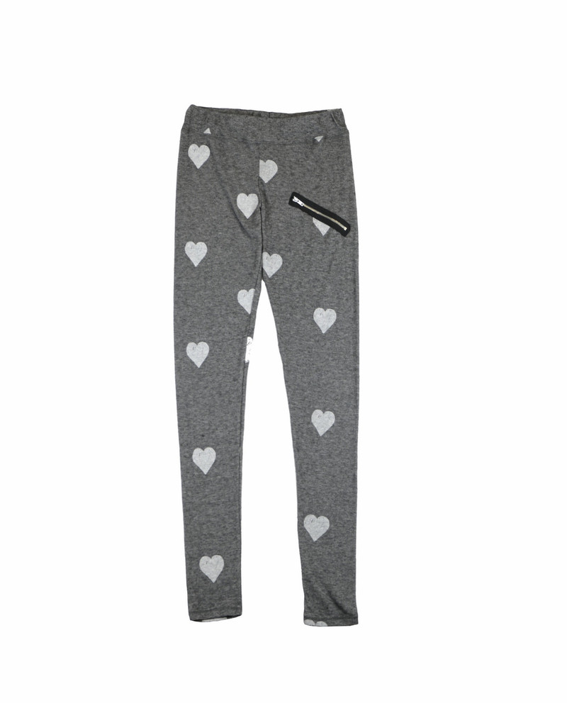 CHARCOAL GREY HEATHER HACCI LEGGINGS WITH ZIPPER DETAIL