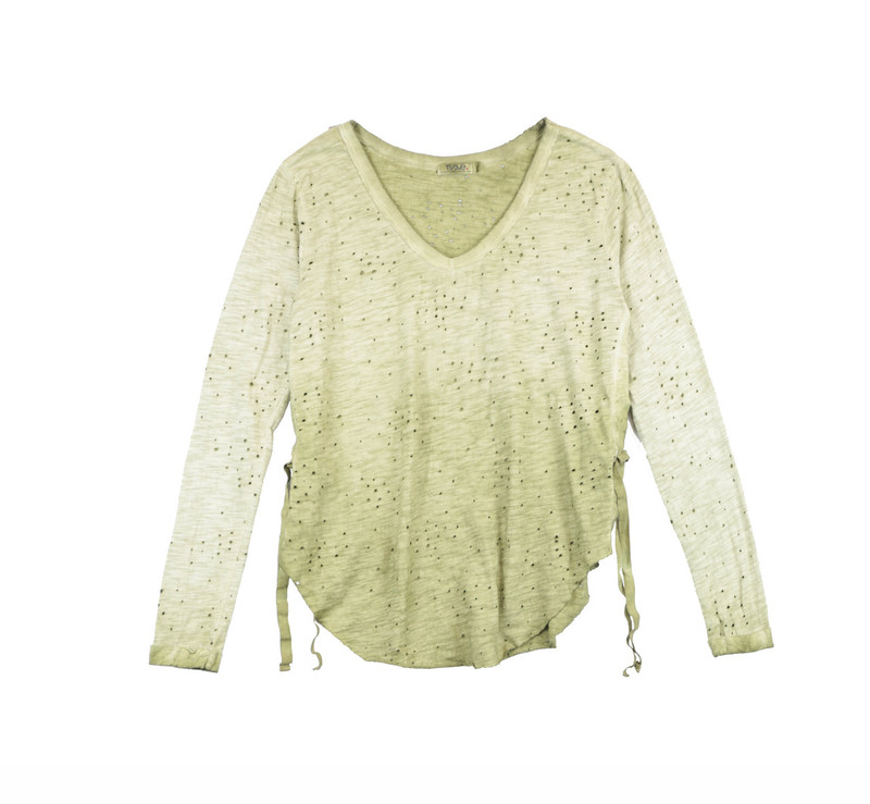 MD OLIVE LONG SLEEVE JERSEY COTTON RAW V-NECK TOP WITH SIDE TIE