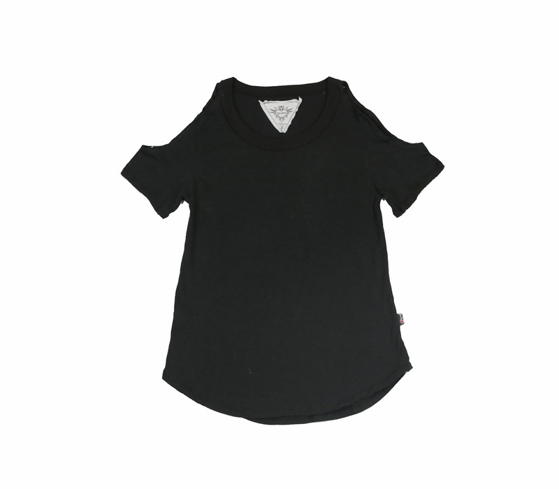 BLACK SHORT SLEEVE COLD SHOULDER TEE