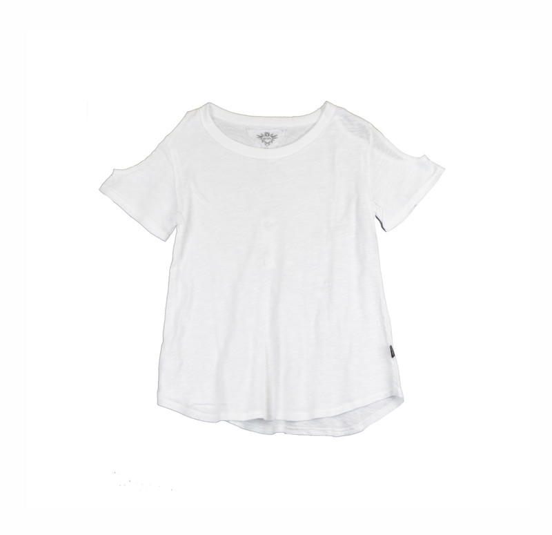 WHITE SHORT SLEEVE COLD SHOULDER TEE