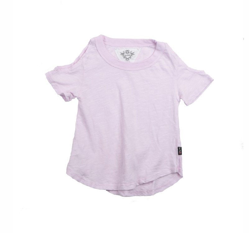 POWDER PINK SHORT SLEEVE COLD SHOULDER TEE