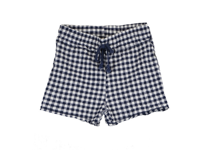 NAVY GINGHAM SEERSUCKER LYCRA RAW EDGE SHORTS