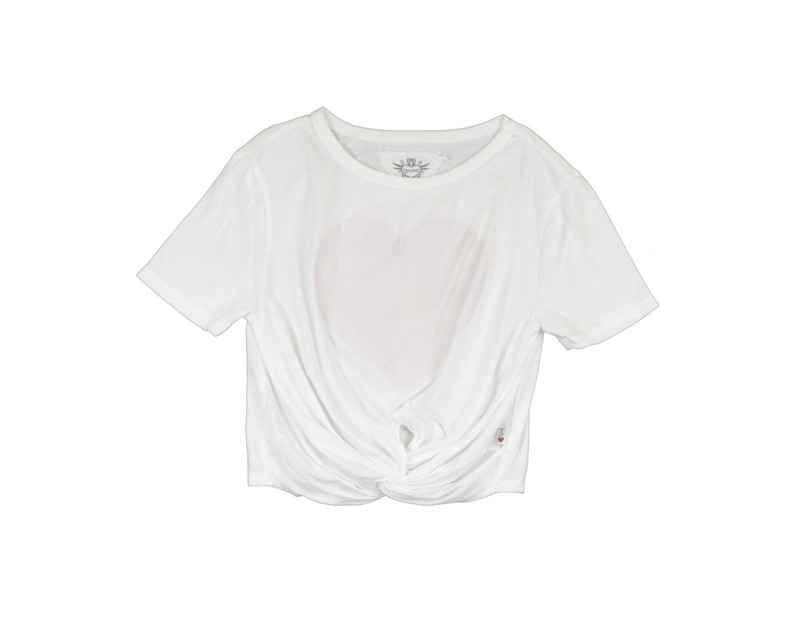 WHITE  SHORT SLEEVE TIE KNOT TEE WITH B PINK DISTRESS HEART