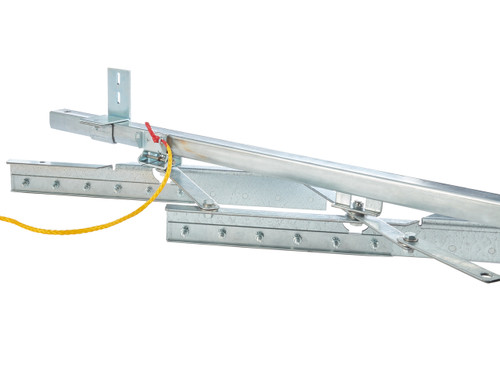 A lock mechanism released by a pull rope allows for quick stowing.