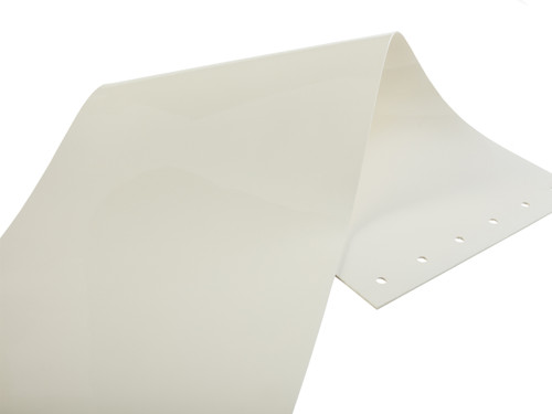 White strips are 100% opaque and only available in 12 inch width, smooth style strips