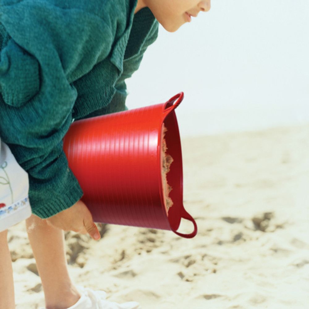Small Tubtrugs are a fantastic item to take to the beach. Not only can they be used to make sandcastlse or transport water, they can also hold all your other toys to and from the beach.