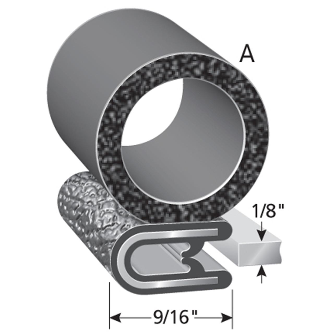 "Bulb Location ""A"" /  Bulb Diameter - 3/4"" Across /  Fits up to a 1/8"" Edge /  Trim Leg Length of 9/16"""