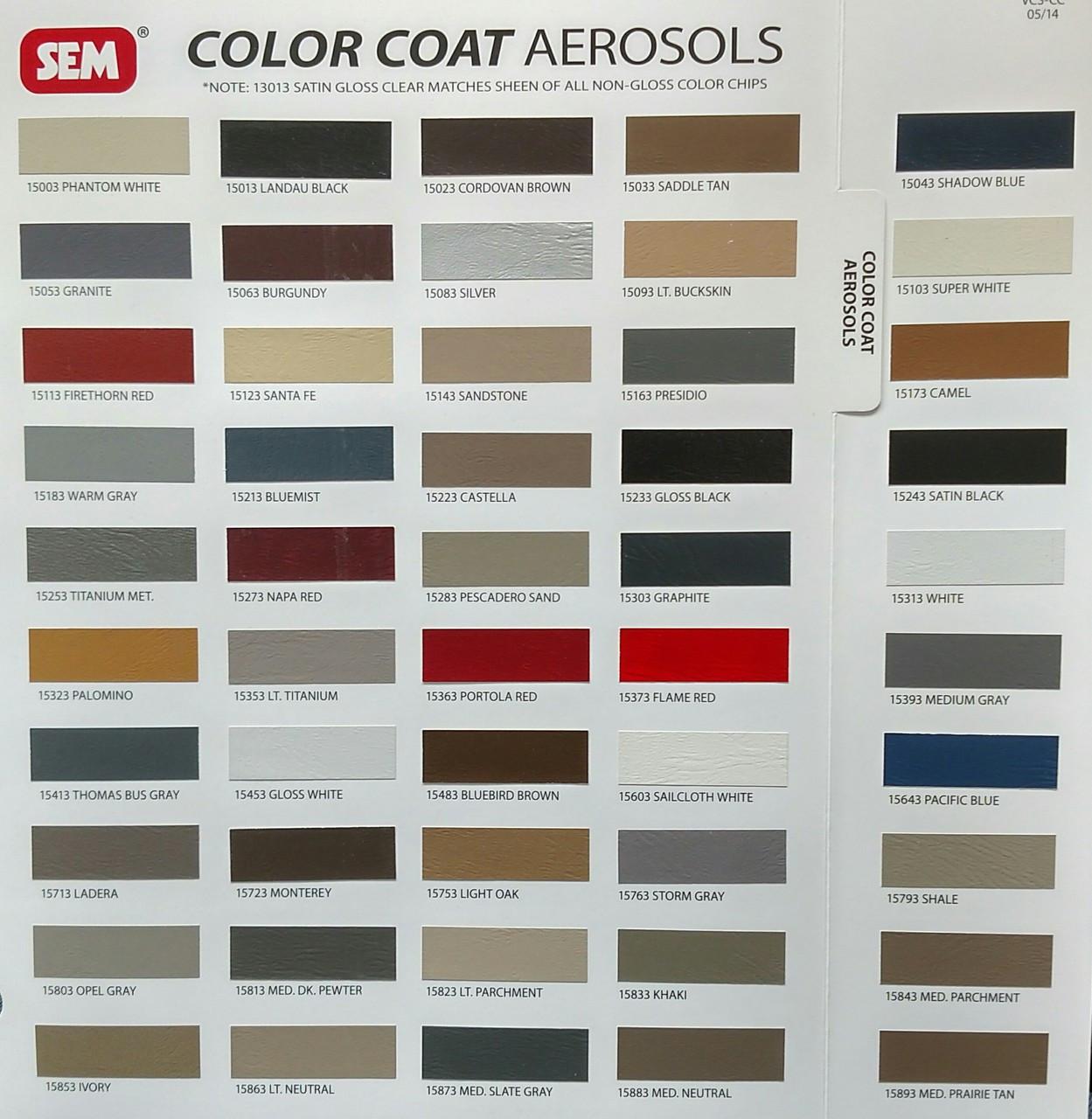 SEM COLOR COAT Aerosol - 12 oz. Flexible Coating Sample Card