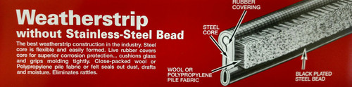 """M123 Weatherstrips with BLACK Steel Bead 48"""""""