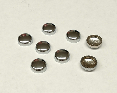 #12 Snap-Cap ELECTROPLATED Chrome & Flat Base/Washer 10 Pack