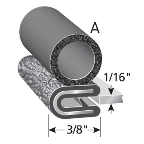 "Bulb Location ""A"" /  Bulb Diameter 3/8"" /  Fits up to a 1/16"" Edge /  Leg Length of 3/8"""