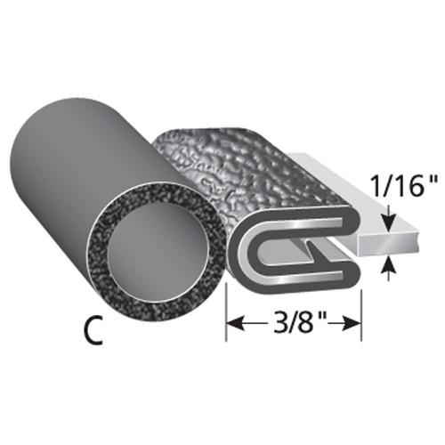 "Bulb Location ""C"" /  Bulb Diameter - 3/8"" /  Fits up to a 1/16"" Edge /  Leg Length of 3/8"""