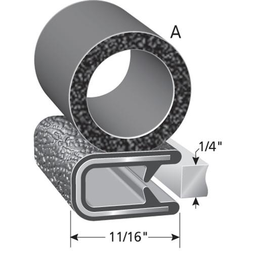 "Bulb Location ""A"" /  Bulb Diameter - 3/4"" /  Fits up to a 1/4"" Edge /  Leg Length of 11/16"""