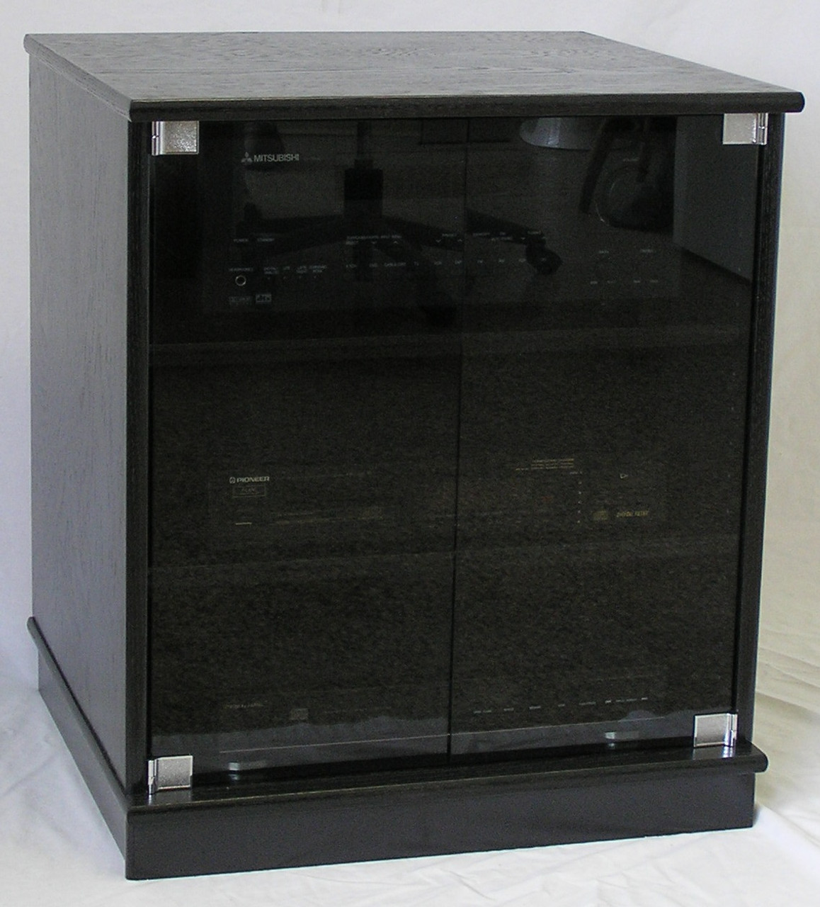 Full Front View Of Small Black Oak Tv Stand With Gray Tint Gl Doors Entertainment Center