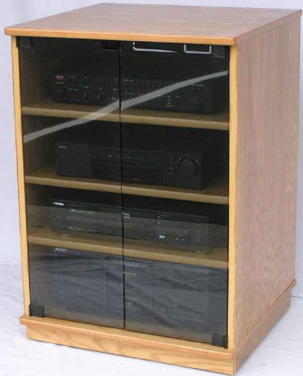 TV Stands With Glass Doors Shown In Light Brown Oak With Gray Tint Tempered  Doors.