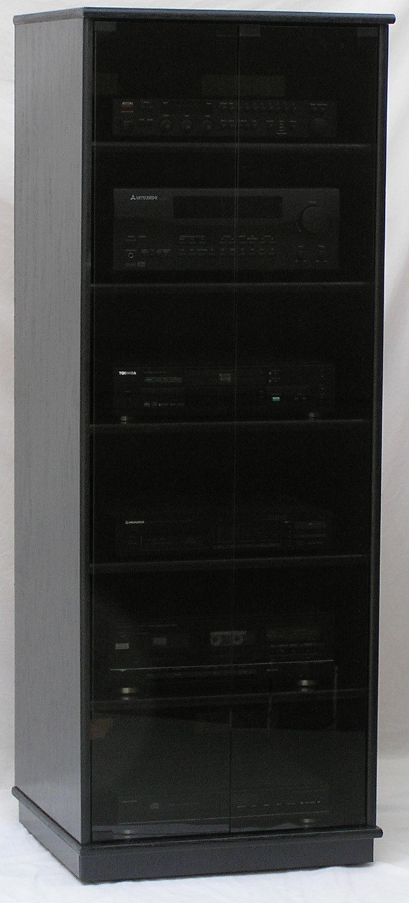 Audio Rack With Gl Doors Shown In Black Oak Finish Full Length Gray Tint