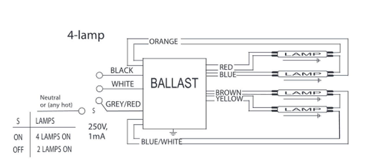 icn 4s54 90c 2ls advance ballast long narrow case rh ballastshop com Electronic Ballast Wiring Diagram Sylvania Ballast Wiring Diagram