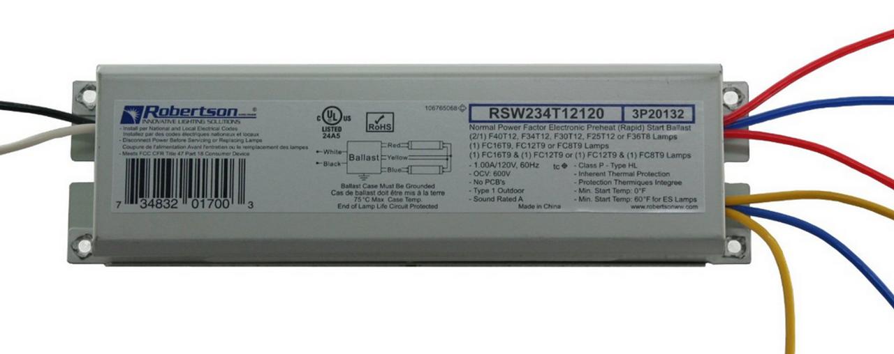 Robertson RSW234T12120 ...  sc 1 st  BallastShop.com & RSW234T12120 Robertson Electronic Ballast F40T12 F34T12 Lamps