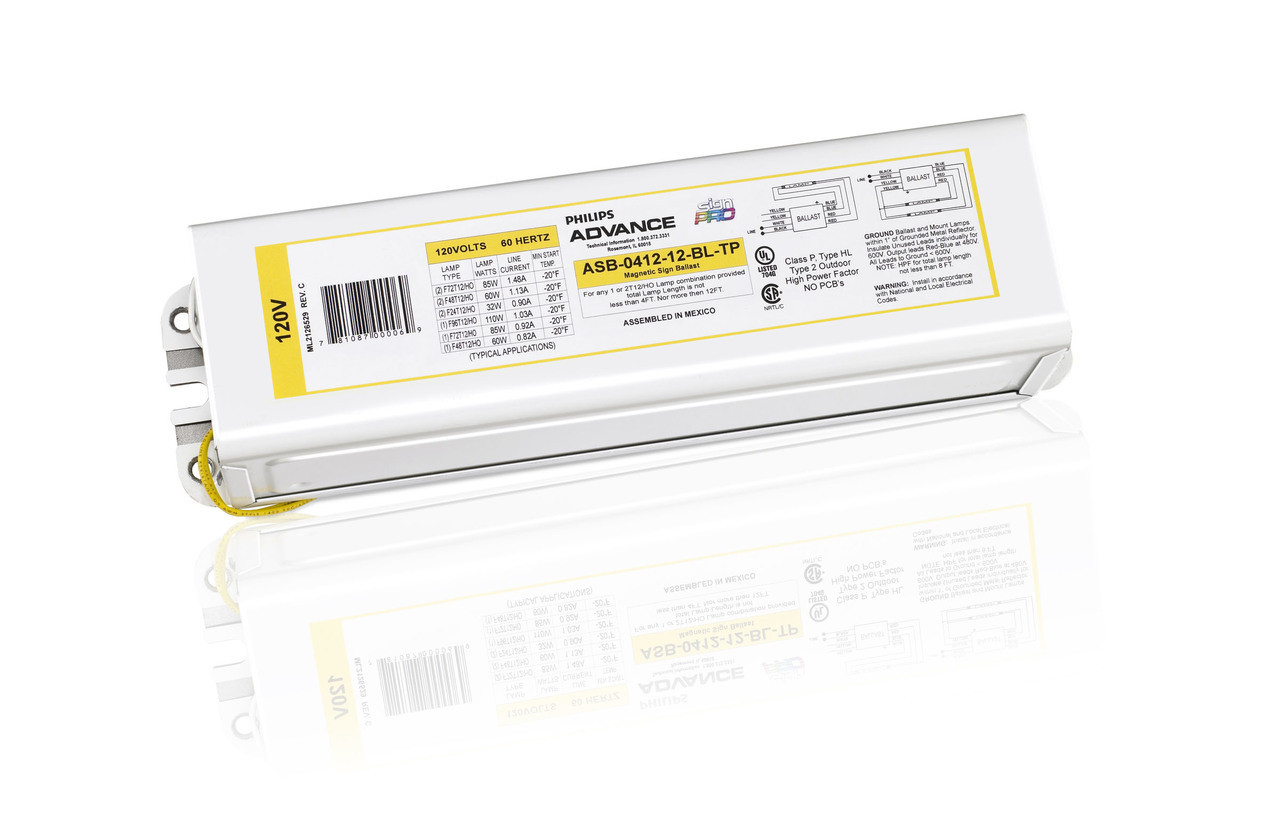 Asb Sign Ballast Wiring Diagram Just Data Fluorescent Lamp Advance Philips 0412 12 Bl Tp Signpro Ballasts Light
