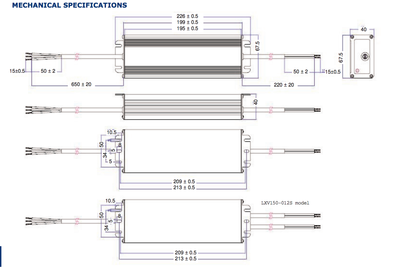 Excelsys Technologies Lxv150 042sw 150w 42v Constant Voltage Led Driver Circuit Mechanical Specifcations