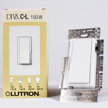 Lutron Diva DVCL-153P-WH Dimmer Switch White with Wallplate