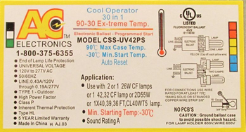 CSS-UV42PS Electronic Ballast - Extreme Temperature