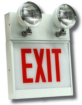 CALEDCXTEU Chicago Approved Steel LED Exit & Emergency Combo 1
