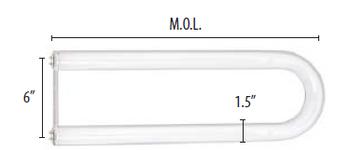 FB34/CW/6/SS/ECO Sylvania 24054 34W/40W T12 U-Bend Cool White Fluorescent Tube