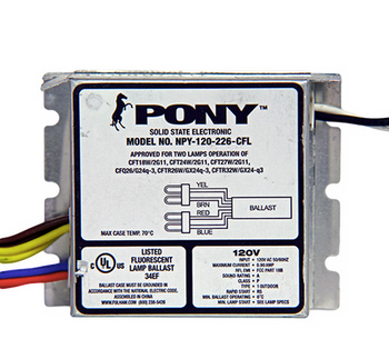 NPY-120-226-CFL Fulham Pony Compact Electronic Ballast