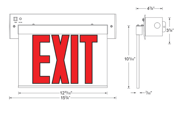 CARELZXTE Exit Wall Mount Dimensions