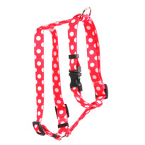 "Strawberry Polka Dot Roman Style ""H"" Dog Harness"