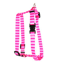 """Pink and Pink Stripe Roman Style """"H"""" Dog Harness"""