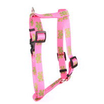 "Pink and Green Skulls Roman Style ""H"" Dog Harness"