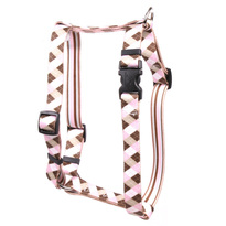 """Pink and Brown Argyle Roman Style """"H"""" Dog Harness"""