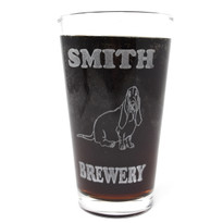 Personalized Pint Glass Beer Mug - Basset Hound