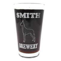 Personalized Pint Glass Beer Mug - Great Dane