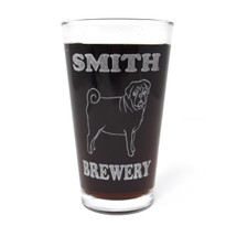 Personalized Pint Glass Beer Mug - Pug