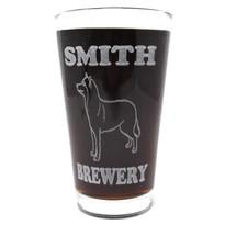 Personalized Pint Glass Beer Mug - Siberian Huskie