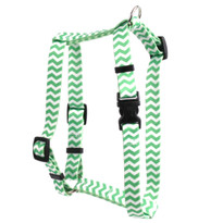 "Chevron - Lime Roman Style ""H"" Dog Harness"