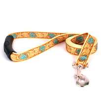 Leather Rose Teal EZ-Grip Fabric Dog Leash